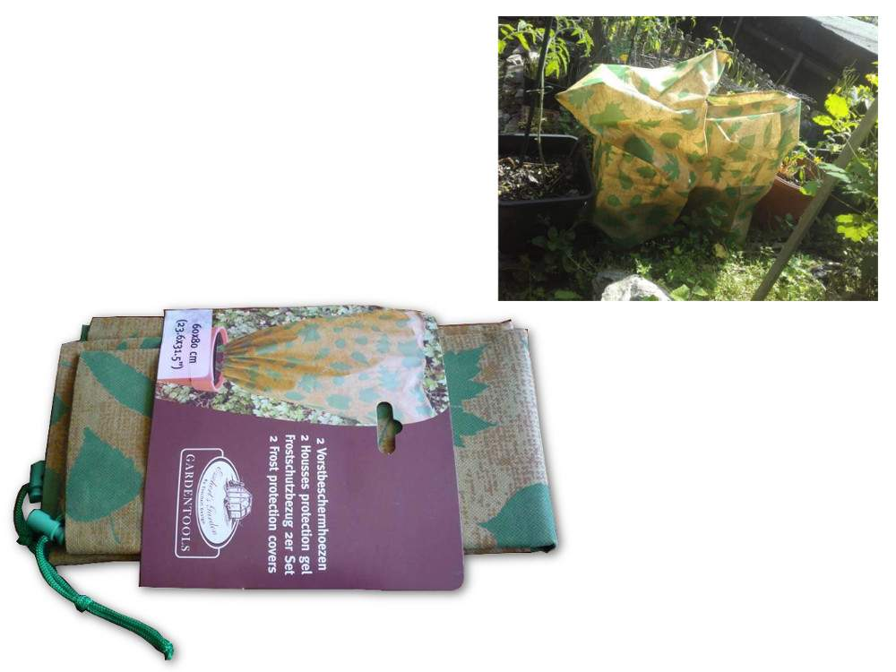 zsinórral zárható fagyvédő, növényvédő zsák