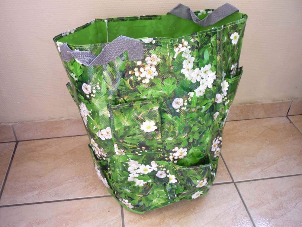 virágos növénytermesztő zsák zsebekkel