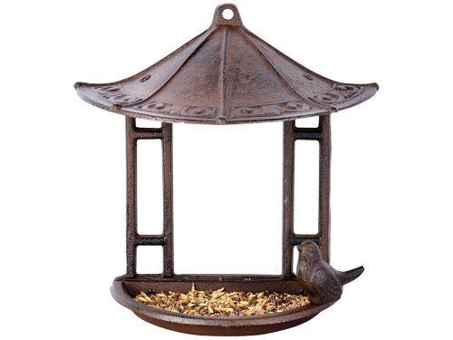 Falhoz rögzíthető, öntöttvas madáretető
