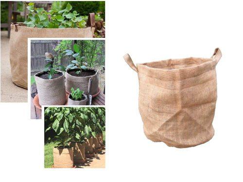 Öko növénytermesztő zsák jutából, 45 cm magas, 40 cm átmérő