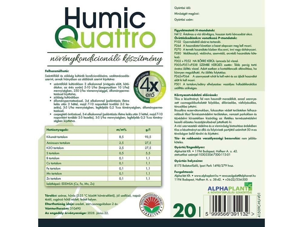 HumicQuattro növénykondícionáló készítmény- 20 liter