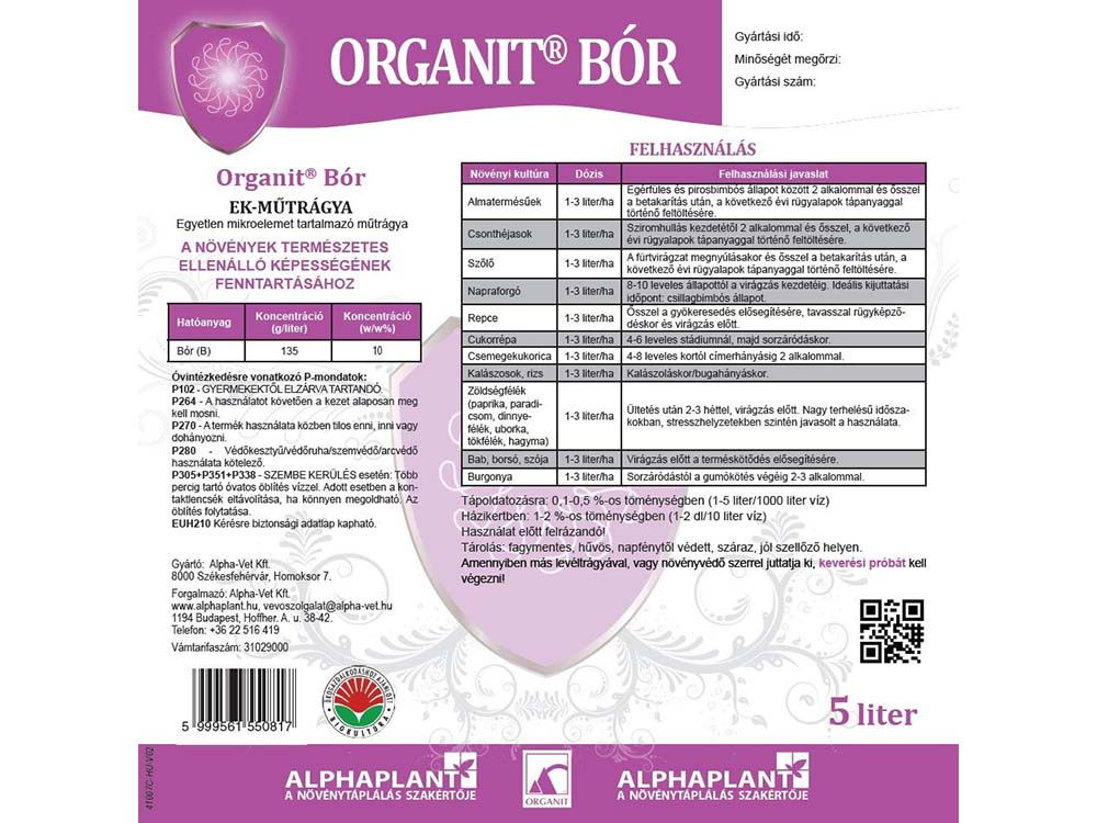 Organit Bór lombtrágya - 5 liter