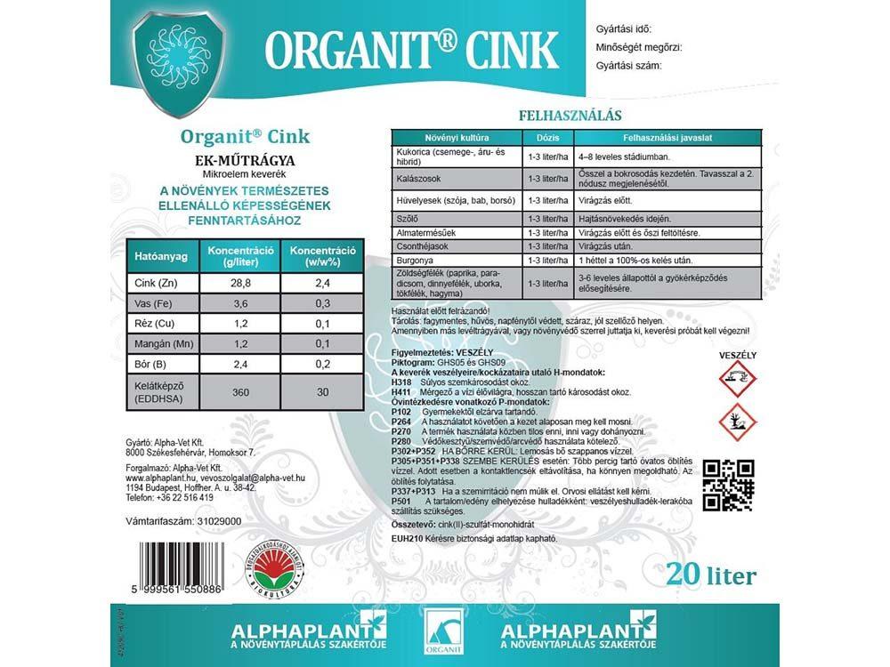 Organit Cink lombtrágya - 20 liter, címke