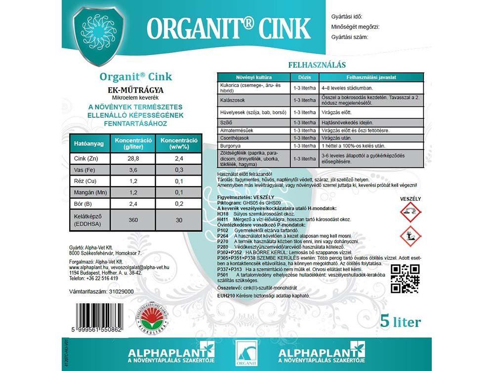 Organit cink lombtrágya - 5 liter, címke
