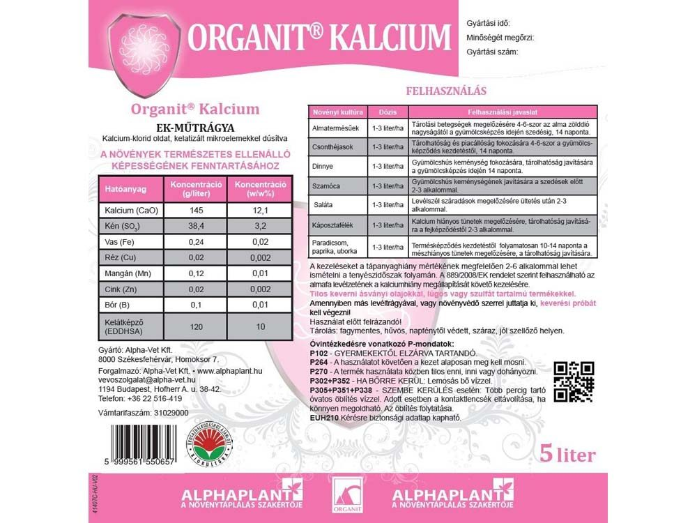 Organit Kalcium lombtrágya - 10 liter, címke