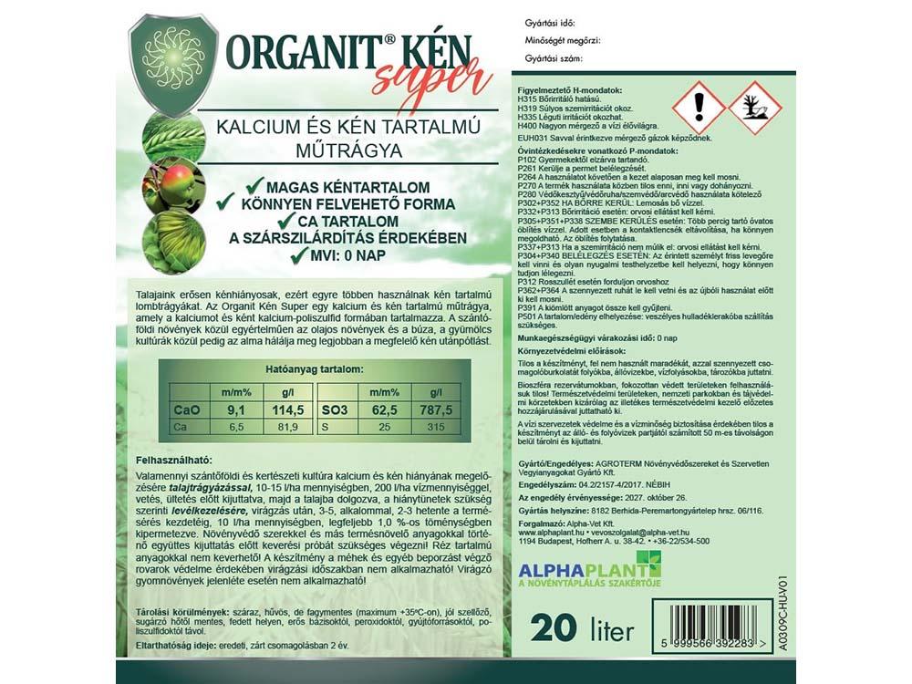 Organit Kén Super lombtrágya – 20 liter