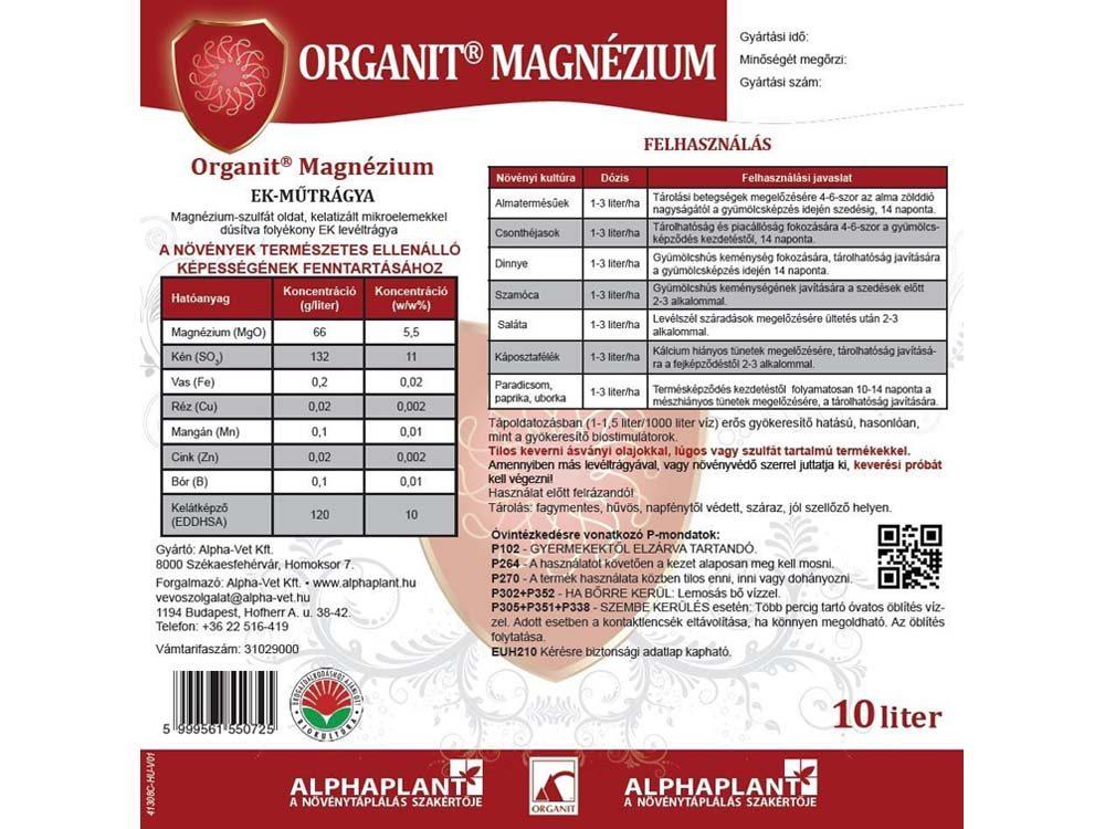 Organit Magnézium lombtrágya - 10 liter, címke