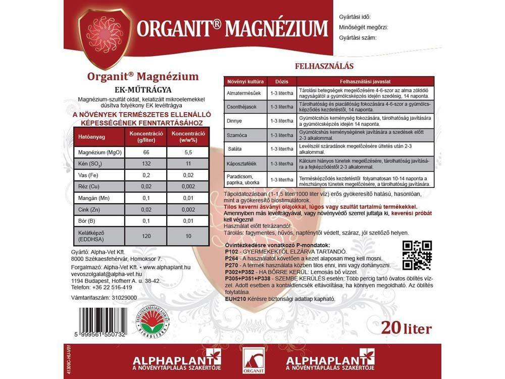 Organit Magnézium lombtrágya - 20 liter, címke