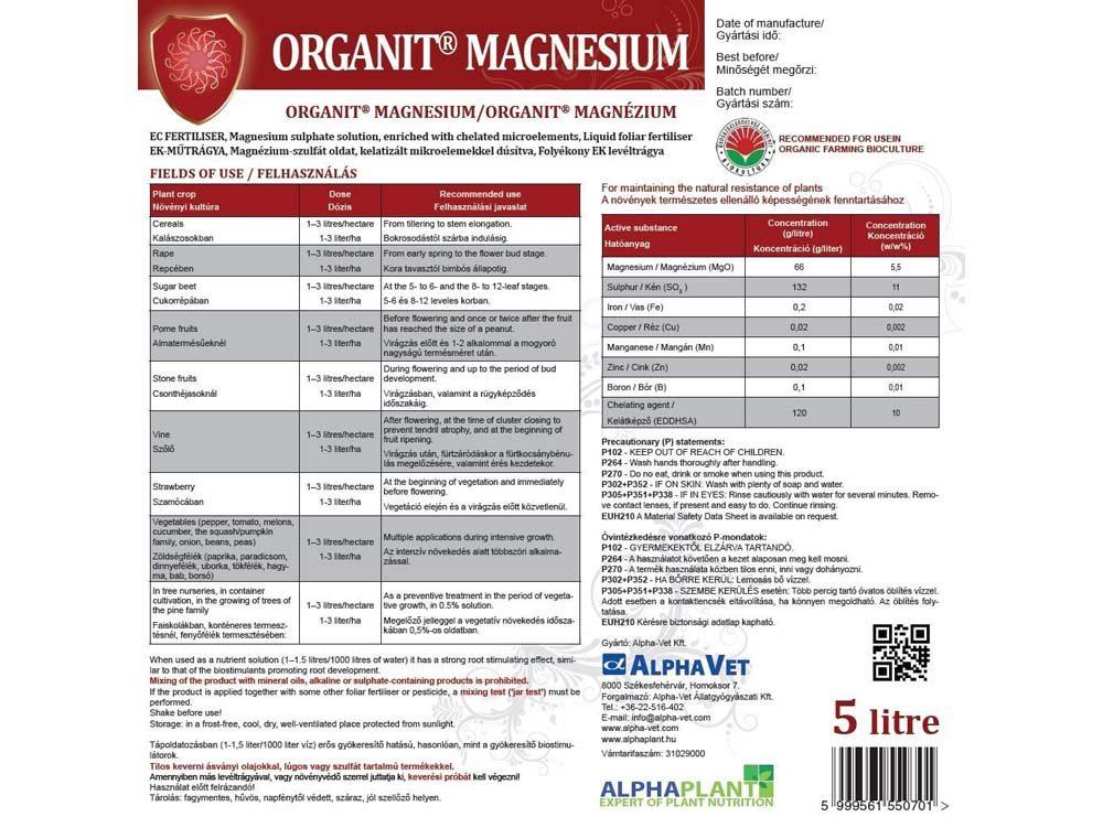 Organit® Magnézium lombtrágya – 5 liter, címke