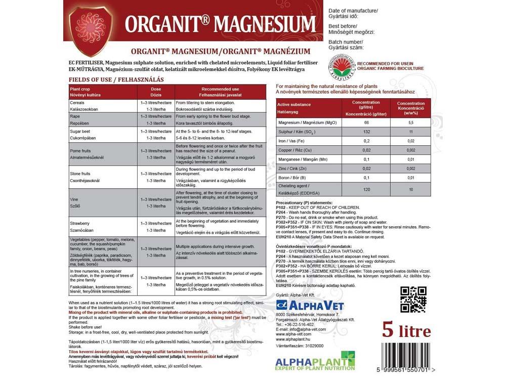 Organit® Magnézium lombtrágya – 5 liter