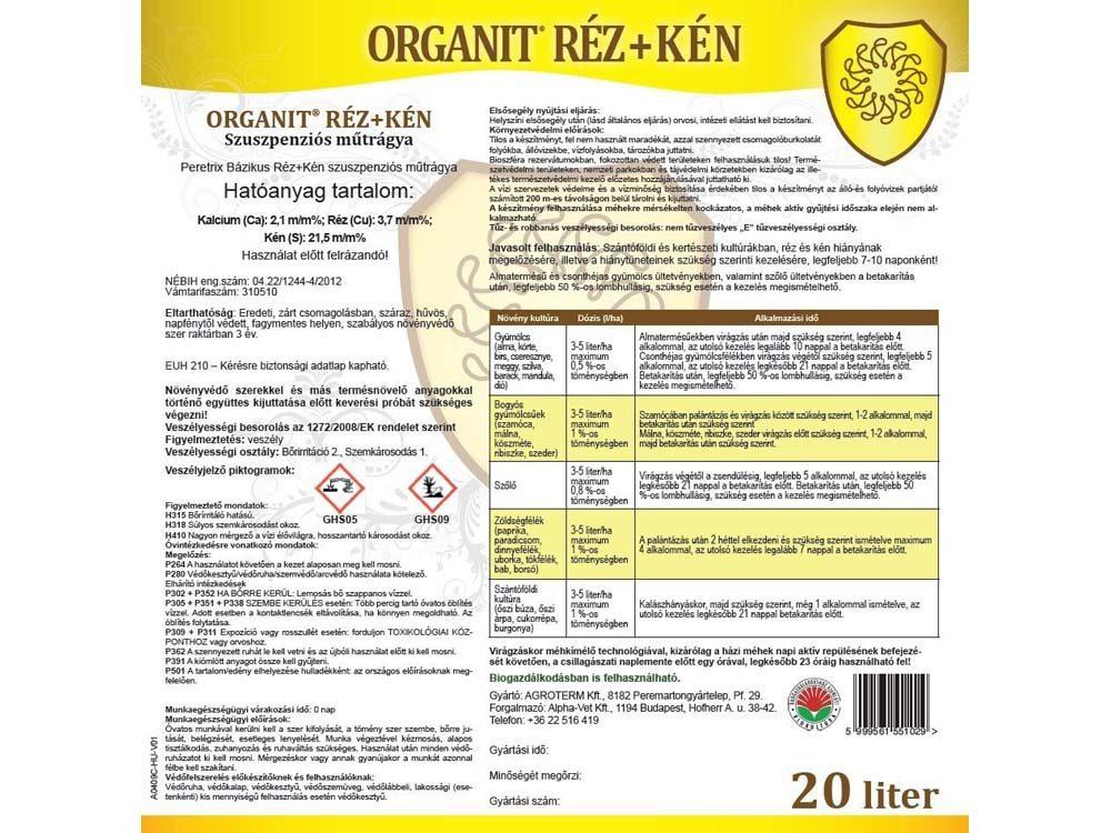 Organit Réz+Kén lombtrágya – 20 liter, címke