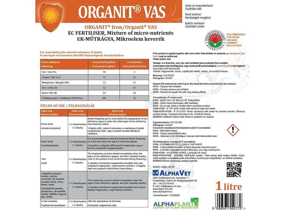 Organit Vas lombtrágya – 1 liter, címke