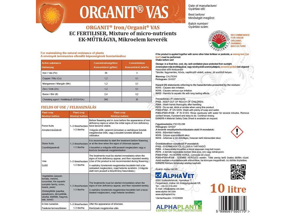 Organit Vas lombtrágya - 10 liter